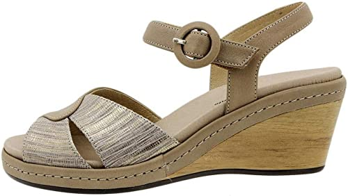 Zapato Cómodo damen Sandalia Plantilla Extraíble Piel Camel 6953 PieSanto