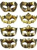 8 Stück Vintage Antiquität Masken Maskerade Karneval Maske (Gold)