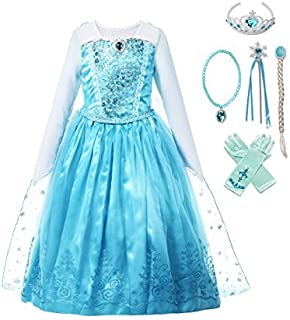 Girls Ice Snow Queen Sequin Princess Upgrade Deluxe Costume Long Sleeve