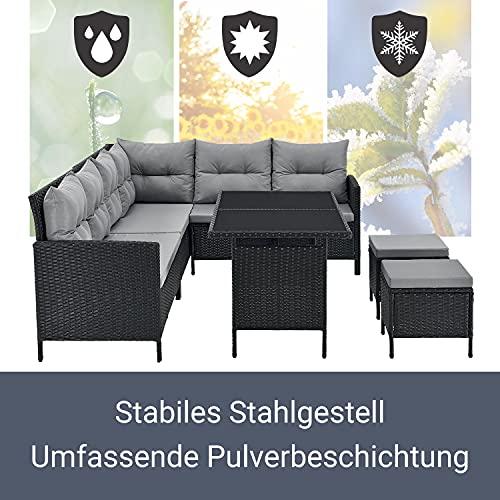ArtLife Polyrattan Lounge Manacor | Gartenmöbel Set mit Sofa, Tisch & 2 Hockern | Bezüge grau | Sitzgruppe für Garten, Terrasse & Balkon - 5