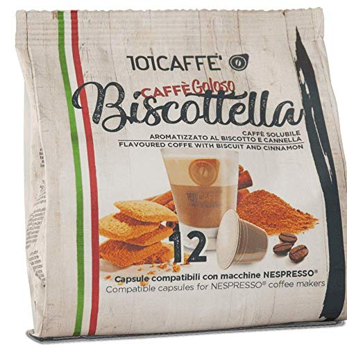 101CAFFE' Biscottella   Sacchetto 12 capsule compatibile con Nespresso�