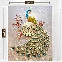 壁時計孔雀大型、クォーツクリエイティブモダンな3Dクリスタルダイヤモンド孔雀ヨーロッパスタイルの壁掛け時計