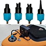 Inflatable SUP Pump Adaptor Air Pump Converter, PeSandy Multifunction Air Valve Converter with 4 Standard Conventional Air Valve Nozzles for Inflatable Boat, Stand Up Paddle Board, Inflatable Bed, Etc