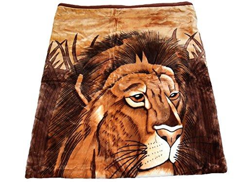 HAFIX Kuscheldecke Tagesdecke Wolldecke Überwurfdecke in 160x220cm Ruhender Löwe, für wohlige Wärme auf dem Sofa und im Bett 100% Polyester