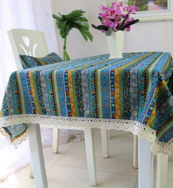 BLUELSS Nappes rectangulaires Vintage Dentelle, Tapis de Table Table à Manger 24 Couvrir nappes Café avec Dessin de Fleurs,Bleu,120 * 120cm