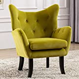 Merax Modern Wingback Accent Chair Armchair with Tufted Button and Wooden Legs for Bedroom, Living Room or Office, Avocado