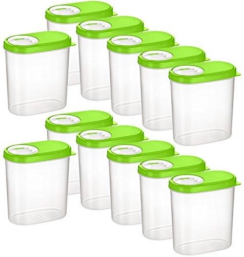 Kigima Gewürzdosen Schüttdosen Streudosen Vorratsdosen 0,30l 12er Set grün