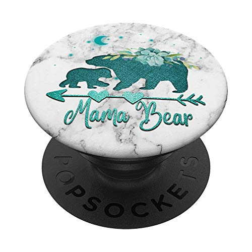 Floral Teal Mama bear with One cub White Gray Background PopSockets PopGrip: Swappable Grip for Phones & Tablets