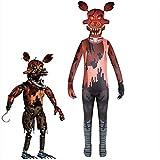 Mdcgok Costume FNAF per Bambini Creepy Nightmare Foxy Cosplay Spaventoso Freddy s Foxy Tuta per Halloween Party Roleplay-140