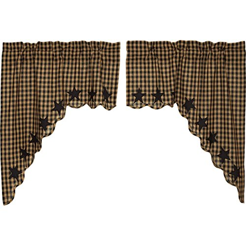 VHC Brands Black Star Scalloped Swag Set of 2 36x36x16 Primitive Rustic Country Curtains, Raven Black and Tan