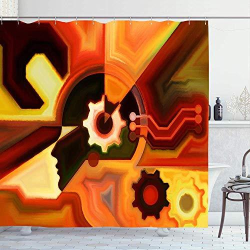 AllenPrint Rideaux De Douche,Aquarelle Peinture Couleurs Esprit Série Composition Esprit Humain Gens Moderne Technologie Abstrait Premium Rideaux De Douche