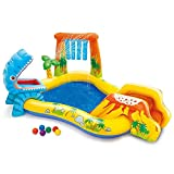 XJJY Große Streuspiele Pool Wasserspray PVC Dinosaurier Aufblasbare Pool Faltbares Schwimmbad Spritzen Wasserkissen Sommer Schwimmbad Für Kinder/Haustier Familie Wasser Spielzeug Gärten Im Freien