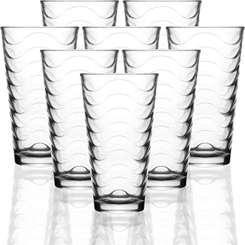 Circleware 40135 Pulse Set of 8-15.7 oz Heavy Base Highball Drinking Glasses Tumblers Ice Tea Beverage Cups Glassware for Water, Juice, Beer, 8pc