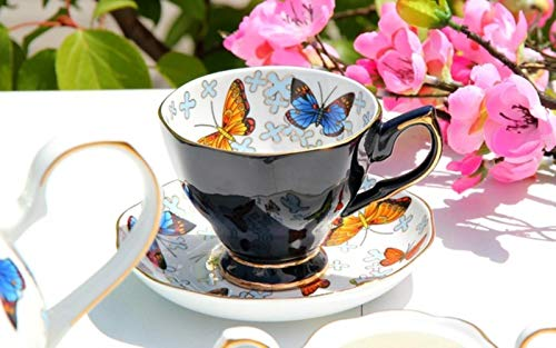Ceramic Bone China Coffee Set Afternoon Tea Set for Gift Butterfly Design Party Weeding-Black Cup n Saucer