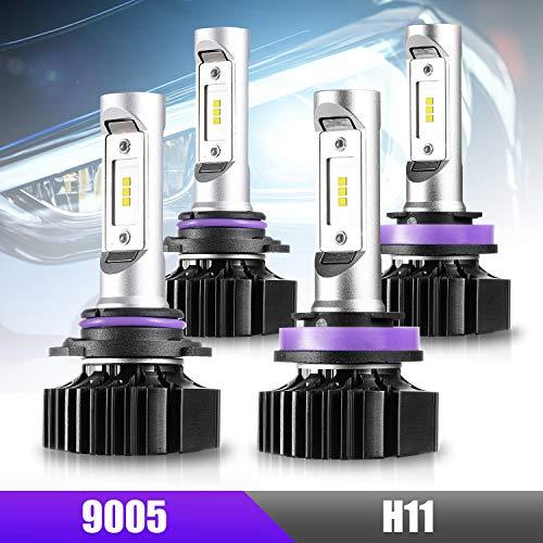 CZC AUTO LED Headlight Bulbs 9005 H11 Combo Led Headlight Kit High Beam Low Beam 4 Pack LED Headlamps 6000K Bright White LED Bulb, Super Bright 20000LM LED Headlights Set, Over 30000 Hours