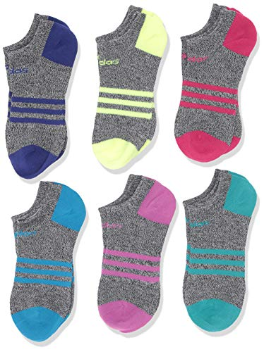 adidas Youth Kids-Girl's Superlite No Show Socks (6 Pair), Black - White Marl/Real Magenta/Active Blue/Hi - Res Y, Medium, (Shoe Size 13C-4Y)
