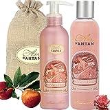 Un Air d'Antan Caja Belleza Rose Mujer,1 Gel de Ducha 250ml, 1 Crema Corporal Hidratante 200ml|Perfume Original Melocotón, Petalos de Rosa, Pachulí|Navidad Regalo Mujer Originales Cumpleaños