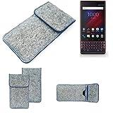 K-S-Trade Filz Schutz Hülle Für BlackBerry Key 2 LE Dual-SIM Schutzhülle Filztasche Pouch Tasche Hülle Sleeve Handyhülle Filzhülle Hellgrau, Blauer Rand