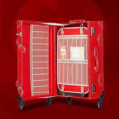 MJY Establecer contraseña Bolsa de viaje Trolley Mujer Cute Suitcase Wheels Vintage Cabin Trunk Crocodile Pattern Spinner Rolling Luggage,rojo,24 '