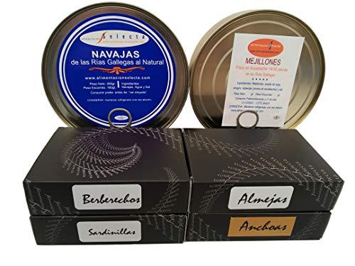 Productos Gourmet de Galicia Selección Oro Rias Baixas Sardinillas Mejillones Berberechos Navajas y Almejas Más Octavillo de Anchoas de Santoña Productos Artesanales 100%