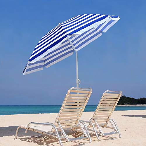 Greenbay 180cm Sonnenschirm Strand, Marktschirm mit Kippbarer, Gestreifter Strandschirm Gartenschirm, Blau-Weiß