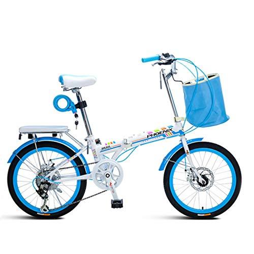 Ellittiche Bicicletta da Strada Pieghevole Bicicletta da 20 Pollici per Adulti e Fuoristrada per Adulti Uomini e Studentesse (Color : Blue, Size : 20in)