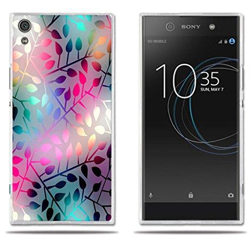 FUBAODA Funda para Sony Xperia XA1 Ultra Hermoso Dibujo de Vidriera con Diseños Vegetales,Silicona TPU, Flexible,a los Arañazos, para Sony Xperia XA1 Ultra (6.0')