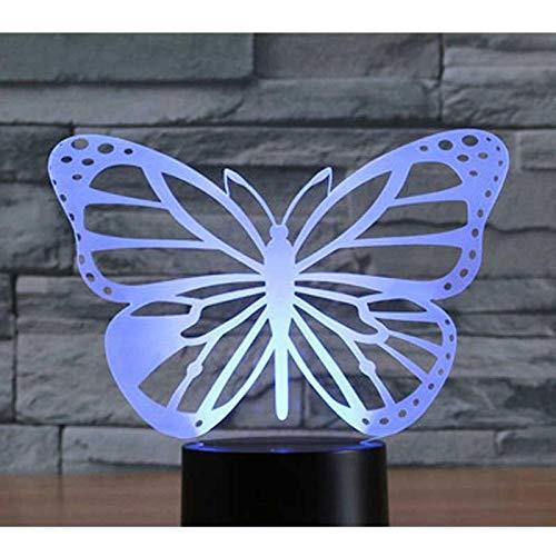 Luz De Noche Led 3D Flor De Mariposa Con Luz De 7 Colores Para Lámpara De Decoración Del Hogar Visualización Increíble Ilusión Óptica Impresionante 1pc