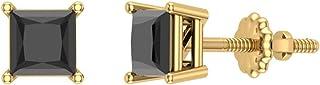 Orecchini a bottone con diamanti neri taglio princess, oro 14 carati