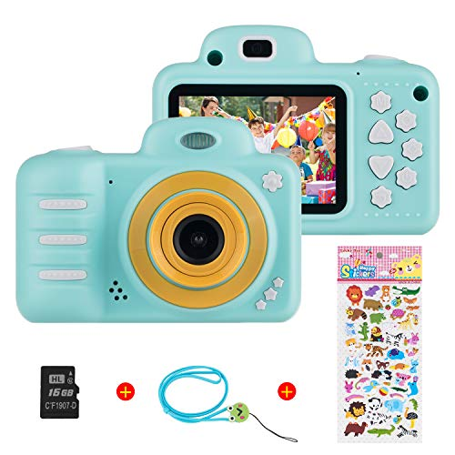 Vannico Kinder Digital Mini Kamera, Selfie Digitalkamera Photo Kids Camera HD Kinderkamera 8 Megapixel, Wiederaufladbar Actionkameras Camcorder für Mädchen Jungen mit 16G SD Karte (Blau)