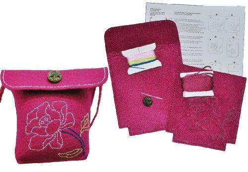 alles-meine.de GmbH Bastelset: für Filztasche -  Blumen & Blüten - rosa / pink  - zum Sticken, Nähen per Hand - Tragetasche Oliv grün - Tasche mit Blumen Blüten bunt Handarbeit..