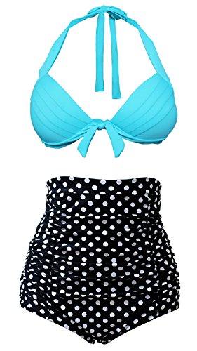 COCOSHIP Vintage Light Blue Top Black White Polka Bottom High Waisted Bikini Swimsuits Bahting Suit L(FBA)