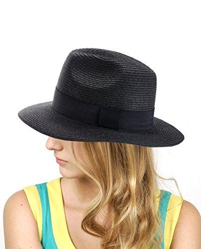 NYFASHION101 Chapeau Panama Unisexe avec Ruban Noir. Produit Offert