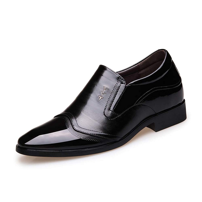 [ジョイジョイ] 革靴 ビジネスシューズ メンズ 8cmアップ シークレットシューズ スリッポン カジュアル ハイカット 幅広 インヒール 身長アップ 通勤 冠婚葬祭 カジュアル 屈曲性 防滑 厚底 ブラウン