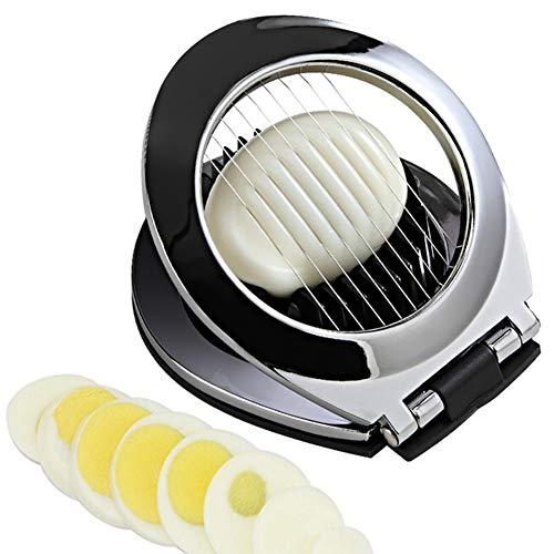 UxradG 2 in 1 Edelstahl-Eierschneider, Ei-Schneider, umweltfreundliche Kanten, Eierschneider, Form mit rutschfester Unterseite, spülmaschinenfest, Küchenwerkzeug