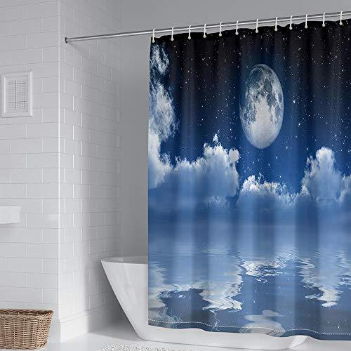 Duschvorhangs Mond Duschvorhang Badewanne Polyester Stoff Wasserdicht Antibakteriell Waschbar Verstärktem Saum Mit 12 Duschvorhangringen 240 X 200 cm