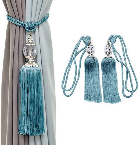 KOLAKO Alzapaños de cortina con borla y cuentas de cristal para cortinas,...