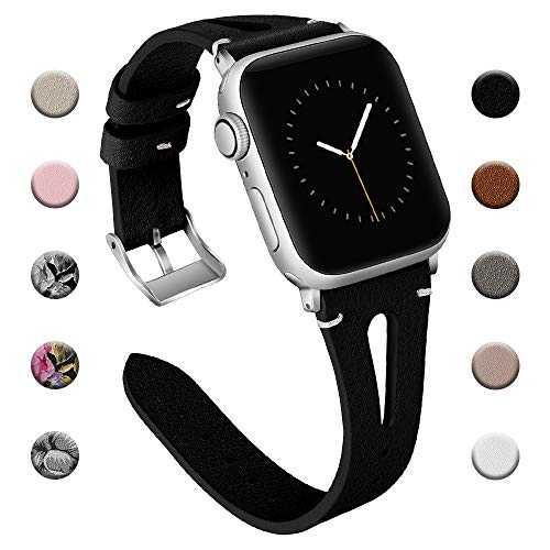 Adepoy für Apple Watch Armband Leder 38mm 40mm 42mm 44mm, Echt Lederarmband Kompatible mit iWatch Series 5/4/3/2/1