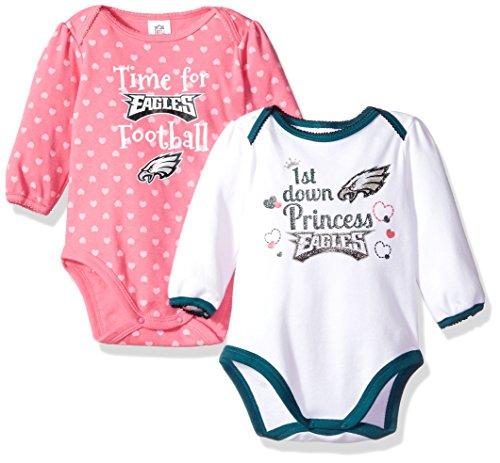 NFL Philadelphia Children Girls 2 Pack Long sleeve Bodysuit, 3-6 Months, Eagles