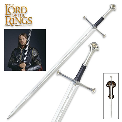 Lord of the Rings United Cutlery LOTR Anduril Sword of King Elessar with Wall Plaque - 52 7/8' Length, The Hobbit