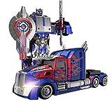 PETRLOY Camión D Optimuus primer RC juguete transformable robot remoto velocidad Control360 deriva Camión de juguete de 11 años fiesta de cumpleaños de modelo de robot ABS transformador Stunt Car