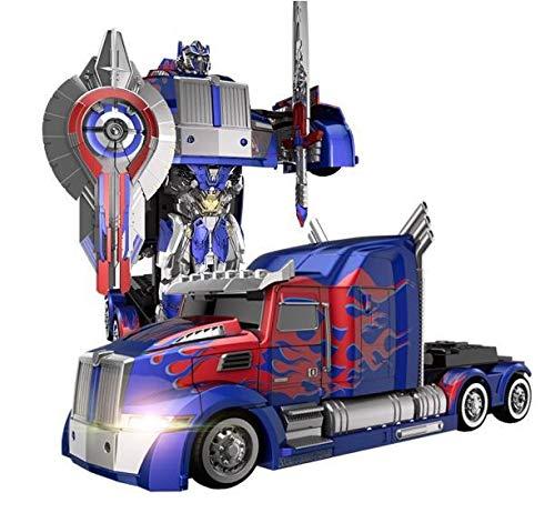PETRLOY Truck D Optimuus Prime RC Spielzeug Transforming Roboter Fern Control360 Geschwindigkeit Driften Lastzug Roboter-Spielzeug 11 Jahre alt Jungen-Geburtstags-Party-Modell ABS Transformator Stunt