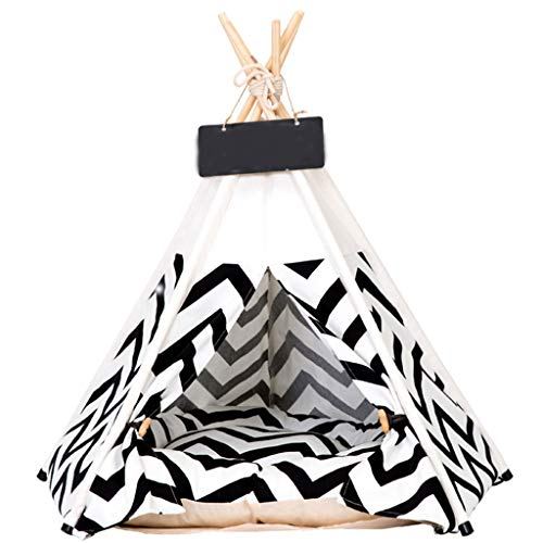 Estrella-L Luxury Dog Tents,With Thick Cushion Pet Teepee Dog Cat Bed & Pet Houses & Portable Pet Tents & Outdoor Pet Supplies (Black),S