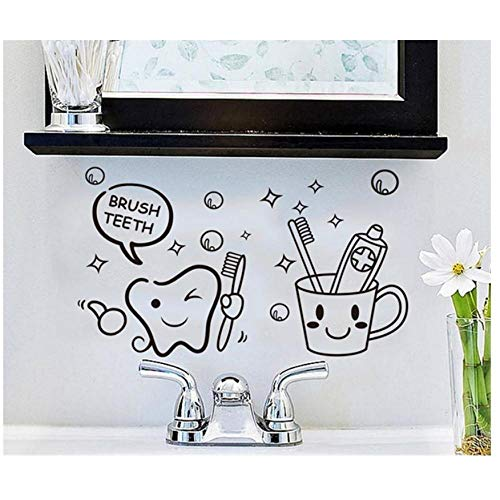 MINGKK - Adhesivo de pared con cepillo de dientes para pared, extraíble, para cuarto de baño, decoración de vinilos, pegatinas de pared, cepillo de dientes para niños, arte de papel pintado 57 x 33 cm