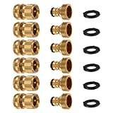 Kupton Garden Hose Quick Connect Fittings, 3/4 Inch GHT Brass Quick Release Water Hose Connector Male and Female Set (6 Sets)