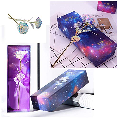 24K Golden Rose Galaxy Rainbow Artificial Flower Colorful Luminous Rose with Love Gift Box Unique Presents Christmas,Valentine's Day, Wedding,Anniversary & Birthday Best Gifts for Mom Wife Women