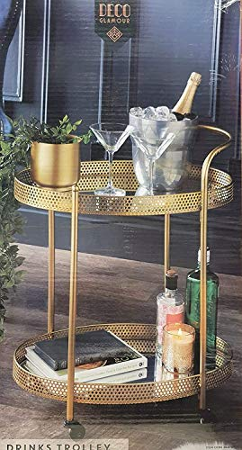 2 Tier Gold Mirror Shelves Vintage Style Metal Kitchen Serving Deco Trolley with Drinks Wine Rack Side End Table
