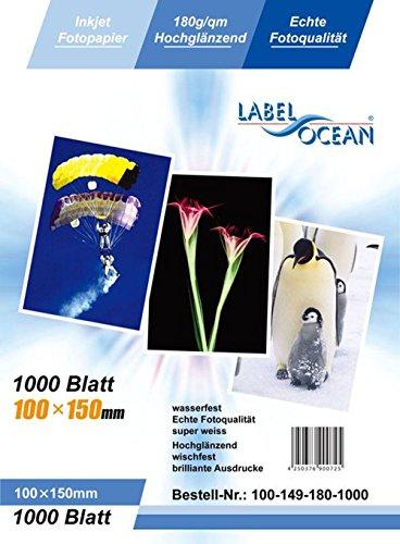 LabelOcean–100hojas papel fotográfico 10x 15cm (100x 150mm) Premium brillante 180g