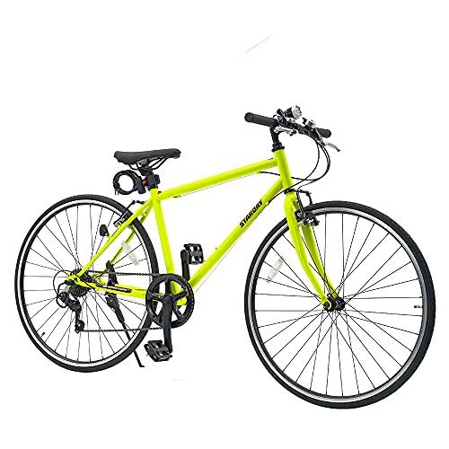 クロスバイク シマノ製7段変速 26インチ 700c ワイヤ錠・ライトのプレゼント付き 前後キャリパーブレーキ 自転車 4色 通勤 通学 (グリーン)