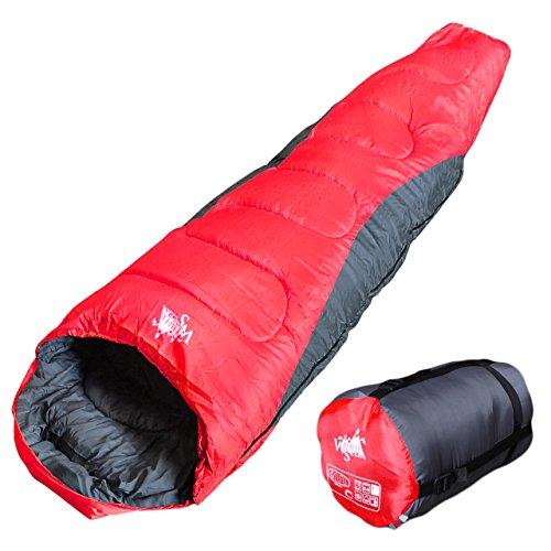 丸洗いOK White Seek 寝袋 シュラフ マミー型 耐寒温度 -5℃ コンパクト収納 オールシーズン (レッドB)